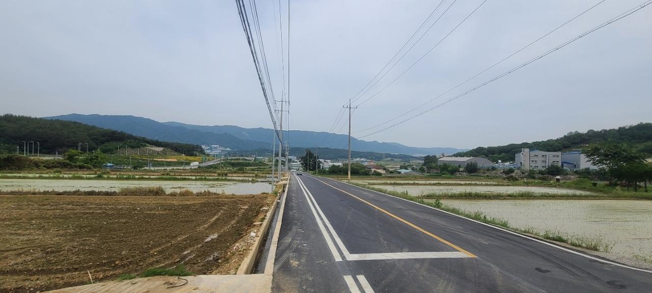구어교차로~구어2산단 입구 간 도로 확장공사 시행 후 사진